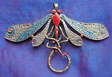 MOZZAFIATO MOLTO GRANDE Art Nouveau Design smaltato libellula Spilla o Ciondolo