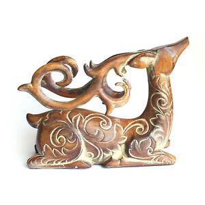 "Vintage Carved Wooden Lying Deer Figurine with Fine Horns 6""x 5""x 2"""