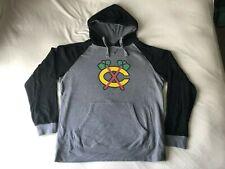 Men's XL Chicago Blackhawks Fanatics Ash/Black Raglan Hoodie/Sweatshirt - Used
