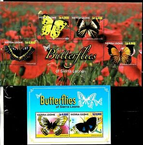#29506 SIERRA LEONA 2010 FAUNA INSECTS BUTTERFLIES M/S+S/S YV 4472-5 BL 625 MNH