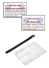 ALLARME MEDICO CPAP equipaggiamento di respirazione Compagnia Aerea Bagagli Card & titolare & Cinghia.