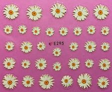 Nail Art 3D Decal Stickers Daisy Flowers White Flowers with Yellow Center E295