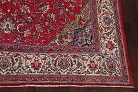 Vintage Floral RED Sarouk Area Rug Hand-Knotted Oriental Decorative Carpet 10x13