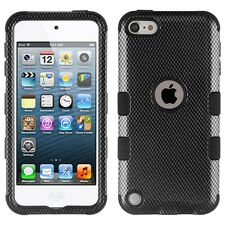iPod Touch 5th /6th Gen - Black Carbon Fiber Hybrid High Impact Armor Cover Case