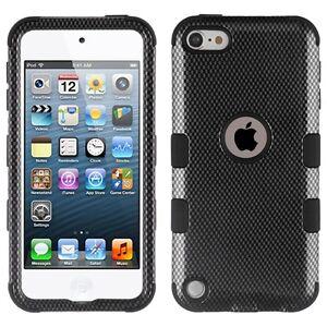 iPod Touch 5th 6th 7th Gen - Black Carbon Fiber Hybrid Impact Armor Cover Case