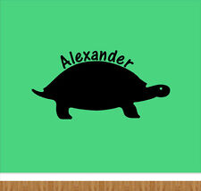 Custom name vinyl wall decal with turtle