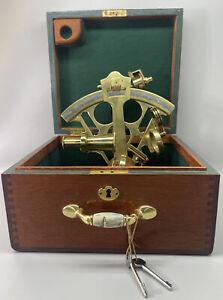 Antique Marine Master Sextant 28 in Mahogany Box w/ Lock & Keys~ Maritime Brass