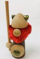 Vintage Gnome Nisse Viking Nordic Warrior Wood Figure Wood Red Hair Denmark