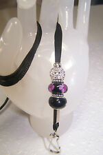 Black and Purple Floral Lampwork and Rhinestone Beaded Lanyard / ID Badge