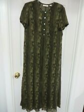 DANA BUCHMAN  Silk  Printed 2-Piece Short sleeve Maxi Dress Olive green14