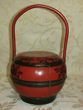 Antique Chinese Wooden Wedding Basket With Lid