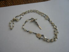 VINTAGE MOTHER OF PEARL & STERLING PRAYER ROSARY BEADS CROSS CRUCIFIX NECKLACE
