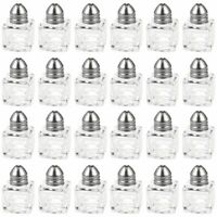 24x Mini Salt and Pepper Shakers Set, Glass Kitchenware, Transparent, 0.5 Oz