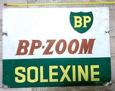 ANCIENNE PLAQUE TOLE PEINTE BP SOLEXINE DOUBLE FACE GARAGE STATION ESSENCE HUILE