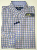 NWT $89 Polo Ralph Lauren Cotton Stretch Long Sleeve Shirt Mens  Blue Gray Plaid