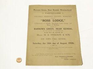 1926 Original Auction Paper Ross Lodge near Kendal #3