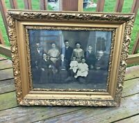 "Antique Victorian gilded picture frame and family 27"" x 24"" ornate wooden gesso"