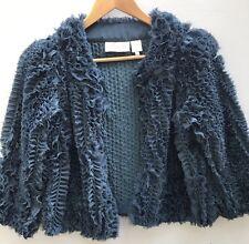Byron Lars Beauty Mark 2 Tulle Ruffle Jacket Blue Cropped XS Shrug Bolero