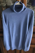 LL Bean Cotton Cashmere Blue Heather Turtleneck Sweater  Womens Size Large L NWT