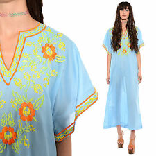 Vtg 70s EMBROIDERED Maxi Dress Caftan Hippie Boho ANGEL SLEEVES Festival Ethnic