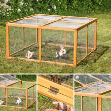 Holz Freilauf Freigehege Hasenstall Kaninchenstall Hasenkäfig Kleintierstall EU