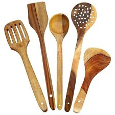 Handmade Wooden Serving and Cooking Spoons Kitchen Utensil Tools -  Set of 5 Pcs