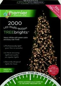 Premier 2000 LED Multi-Action TreeBrights Christmas Tree Lights Timer WARM WHITE