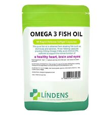 Lindens Omega 3 Fish Oil 30% DHA / EPA 2-PACK 180 Capsules High Strength Quality