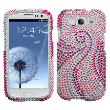 Samsung Galaxy S III 3 Crystal Diamond BLING Hard Case Phone Cover Pink Tail