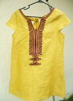 KAS DESIGN S M GOLD RAW SILK INDIA TUNIC PURPLE EMBROIDERED PIPING BLOUSE WOMEN