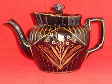Gorgeous Antique Victorian Blackware or Jackfield Teapot with Gilded Butterflies