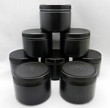 8 Wide Mouth Round 12oz Black Plastic Bottle Containers With Caps - Free Ship