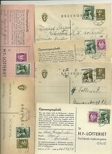 1946 x 6 NORWAY LOTTERY CARDS HALDEN SANDNES GIBOSTRDFREIDRIKSTAD ORJE & OSLO