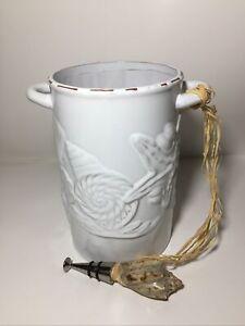 Ceramic Wine Cooler/Chiller With Sea Shell Bottle Stopper - Beach Design