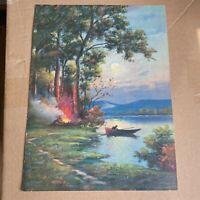 Vintage Litho Print Campfire Canoe Woods Lake Adirondack Full Moon Decor 9 x 12