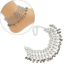 Boho Gypsy Belly Dance Bells Drop Silver Anklet Bracelet Women Foot Ankle Chain