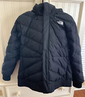 The North Face TNF Women's Goose Down Black Fur Hooded Puffer Coat Size XL