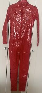 2 X Catsuits Red/black Zip Crotch Jumpsuit Body Suit Clubwear Wetlook Leather