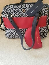 Tommy Hilfiger Jacquard Navy Red Jacquard Dome Satchel Crossbody Bag with Pouch