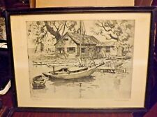 Black & White Print Glass Wooden Framed Point Pleasant Signed Lionel Barrymore