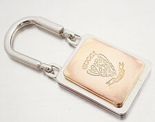 AUTHENTIC GUCCI Logos Key Ring Charm Goldtone And Silvertone