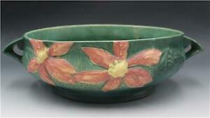 """1940s Roseville Green Clematis 459-10"""" Art Pottery Large Console Bowl"""