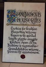 Contemporary Celtic Plaque: Grandparents House Rules 12 x 18 Book of Kells
