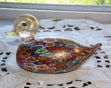 Murano Millifiori Duck Bird Figurine Italian Art Glass Venice Italy
