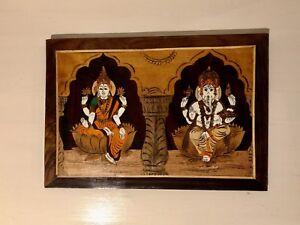 Indian Wood Inlaid GODDESS LAXMI,LORD GANESHA Wall Hanging Diwali