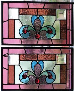 Antique Aesthetic Movement c1890 Stained Glass Window Victorian Fleur de Lis