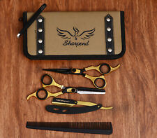 Pro Sharpend Hair Cutting Razor Barber Shears Hairdressing Scissors Kit Gold New