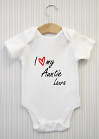 Personalised I love my Auntie Baby Grow Bodysuit Vest Funny Babygrow Shower Gift