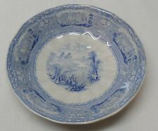 Castle People Fishing Blue and White Porcelain Bowl English Lion Marking Antique