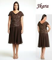 JKARA Plus Size Brown Beaded Chiffon Formal Dress Mother Bride Wedding $208 14W